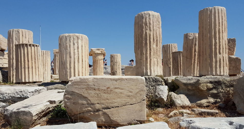 Acropolis, Athens Ancient Ancient Civilization Architecture Arid Climate Clear Sky Coloms Columns Day History Nature No People Outdoors Rock - Object Sky Sunlight