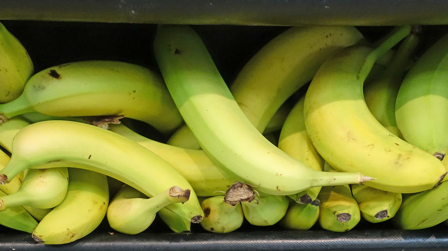 Banana Bananas For Sale Close-up Day Food Food And Drink Freshness Fruit Green Color Healthy Eating Indoors  No People Straight And Long As Per EU Directive Uk Supermarket We Like Em Curvy Yellow