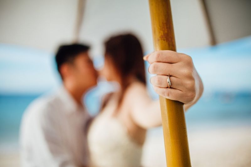 Close-up of couple kissing while standing at beach