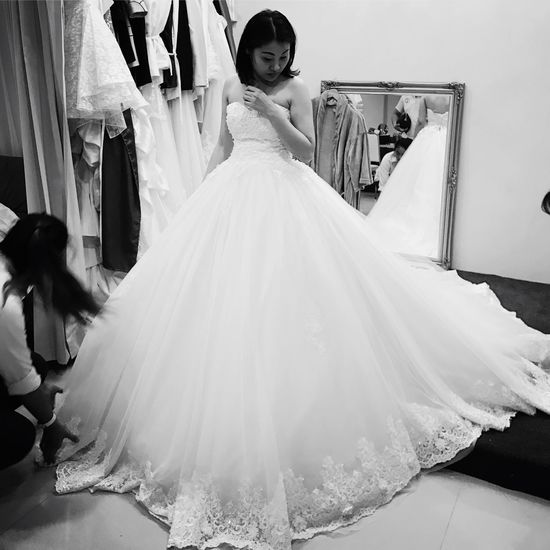 Bride Wedding Dress Wedding Life Events Fitting Room Preparation  Young Adult Clothing Store Women Young Women Indoors  Fashion Trying On Standing Girl Try Before B&w Beautiful Cute Love Black & White Art Is Everywhere