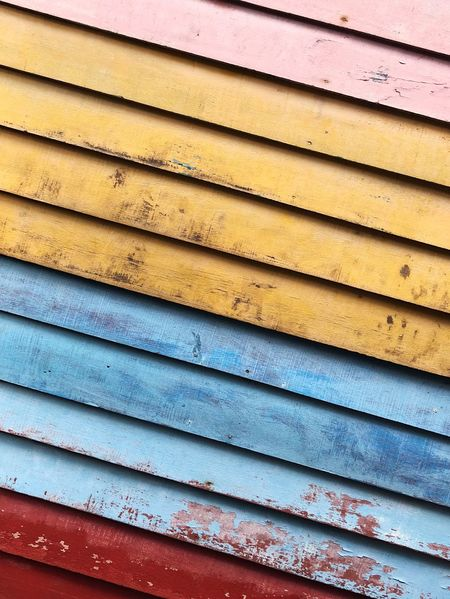 Tilted Colour Rainbow Wallpaper Wall Background Color Background Texture Background Blue Wood - Material Wood - Material Wooden Wood Blue Metal Full Frame Shutter Corrugated Iron Textured  Day Yellow Rusty No People