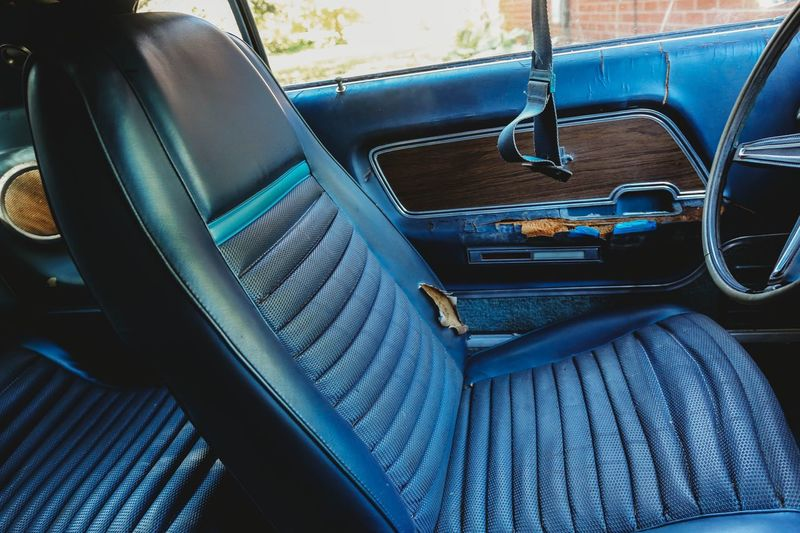 High angle view of empty seats in car