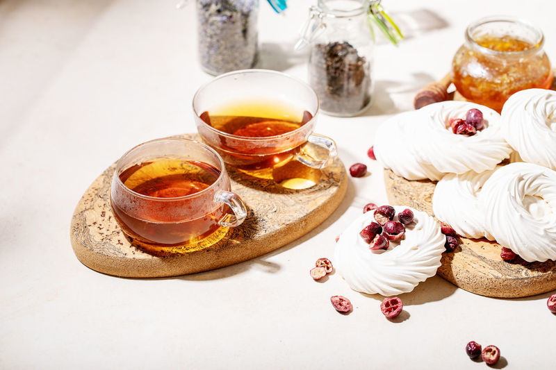 High angle view of dessert in jar on table