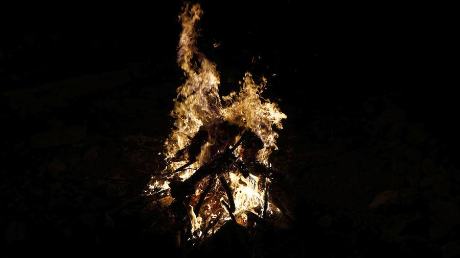 Firepit Fire - Natural Phenomenon Illuminated Celebration City Firework - Man Made Object Exploding Close-up Firework