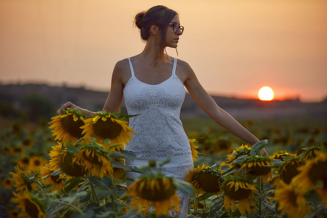 Dress EyeEm Glasses Green Color Life Sunflower Canon Countryside Girl Outdoors Sunset Warm Women Yellow