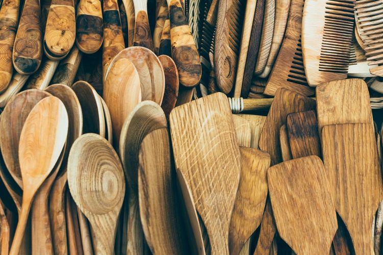 Full frame shot of wooden equipment for sale