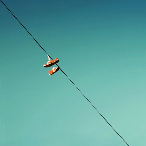 Traveler's legacy Blue Clear Sky Journey Outdoors Power Lines Shoes Sky Snickers Travel Vintage