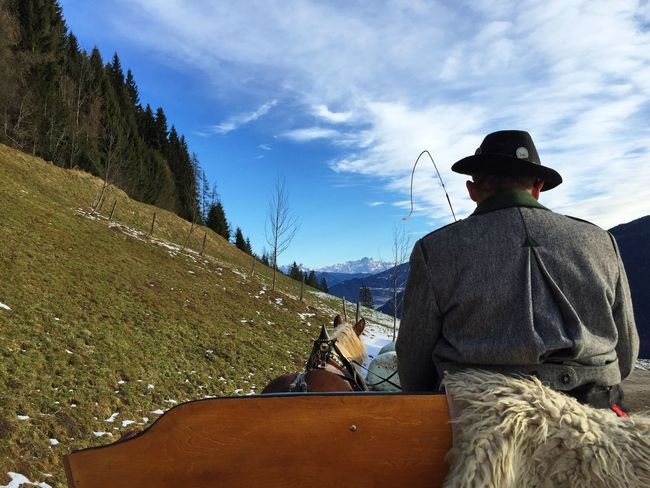 Horse Ride Austrian Mountain Road Winter Blue Sky Trees Austria Clouds The Follower