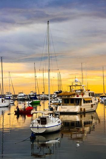 Boat Harbor Mast Mode Of Transport Moored Nature Nautical Vessel Reflection Sailboat Sea Sunset Transportation Waterfront
