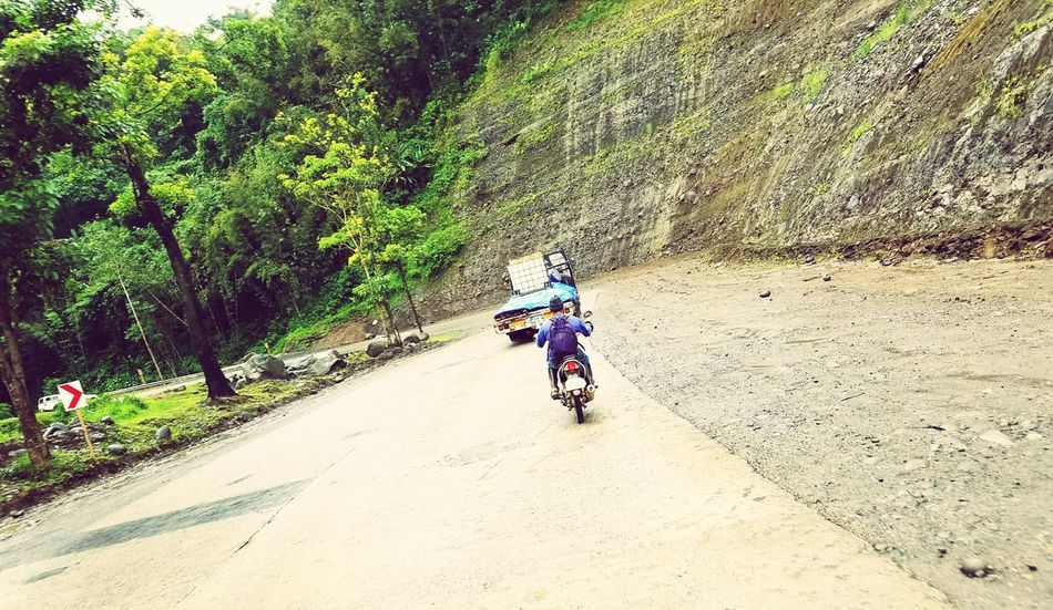 Outdoors Land Vehicle Road Day Tree Motorcycle Real People Nature People Motorcycle Mountain Roads Mountain Rocks Philippines Winding Road EyeEm Selects