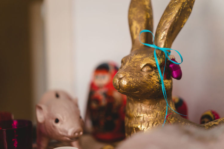 Christmas Decoration Christmas Decoration Christmas Festive Decoration Representation Art And Craft Indoors  Creativity Close-up Sculpture No People Figurine  Craft Mammal Statue Human Representation Selective Focus Toy Focus On Foreground Still Life