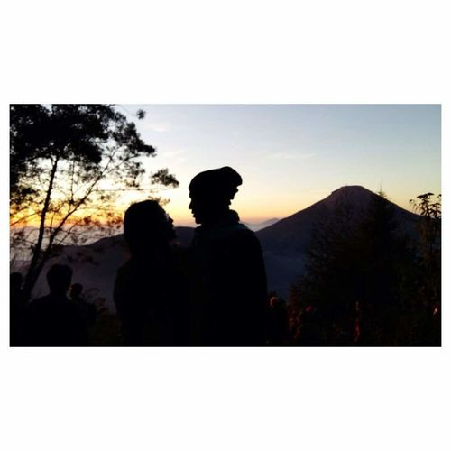My trip to dieng central jawa of indonesia Silhouette Two People Togetherness People Men Adult Sunset Women Couple - Relationship Real People Adults Only Females Males  Bonding Outdoors Nature Day Young Adult Sky Only Men