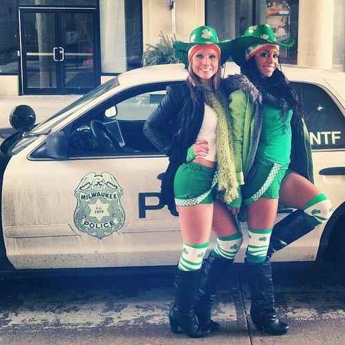 Excuse me, police officer, will you take our picture?? Saint Patty's day! Chicago here we come!!! Leaving Mke 2014 Saintpattysday babes green charms shamrock poPO uhOH !!! greenandwhite glitter spring 2014