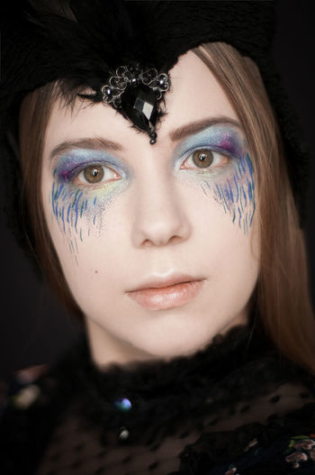 Black Background Portrait Beautiful Woman Human Eye Beauty Eyelash Looking At Camera Human Face Headshot Glamour Eyeshadow Eye Make-up Make-up Lipstick Human Lips Blue Eyes