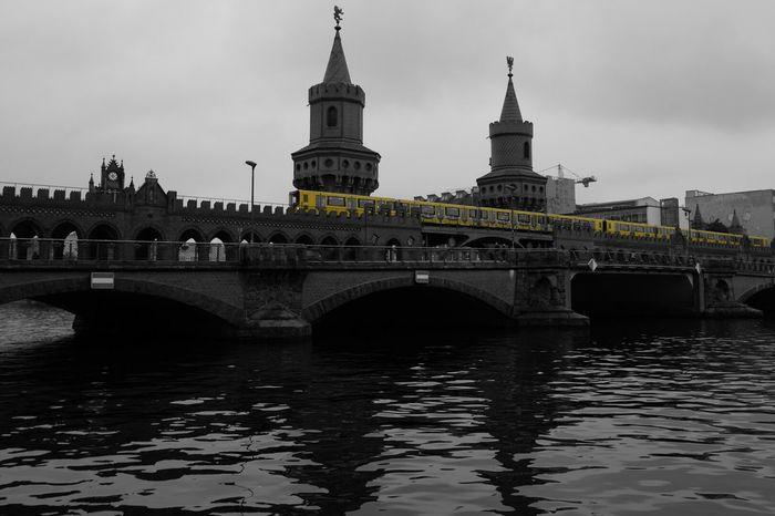Berlin Bridge River Subway Ubahn Yellow Black & White