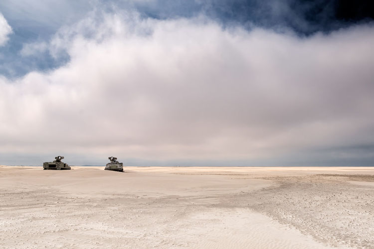 Army tank in the sand