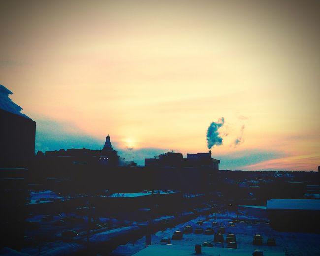 Smokestack Urban Landscape Urban Sunset