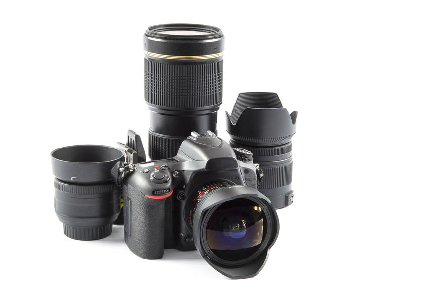 Equipment for the photographer. Professional DSLR Camera and various lenses . Accessories Camera Camera - Photographic Equipment Collection Digital DSLR Equipment Film Industry Isolated Lens Lens - Eye Lens - Optical Instrument Modern Photograph Photographer Photographic Equipment SLR Studio Shot Technology Zoom