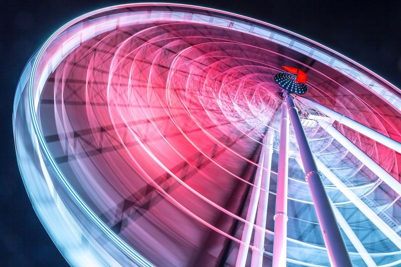 Spinning Brisbane Eye Ferris Wheel Amusement Park Amusement Park Ride Arts Culture And Entertainment Illuminated Night Motion Spinning Low Angle View Long Exposure Speed Circle Geometric Shape Blurred Motion No People Leisure Activity