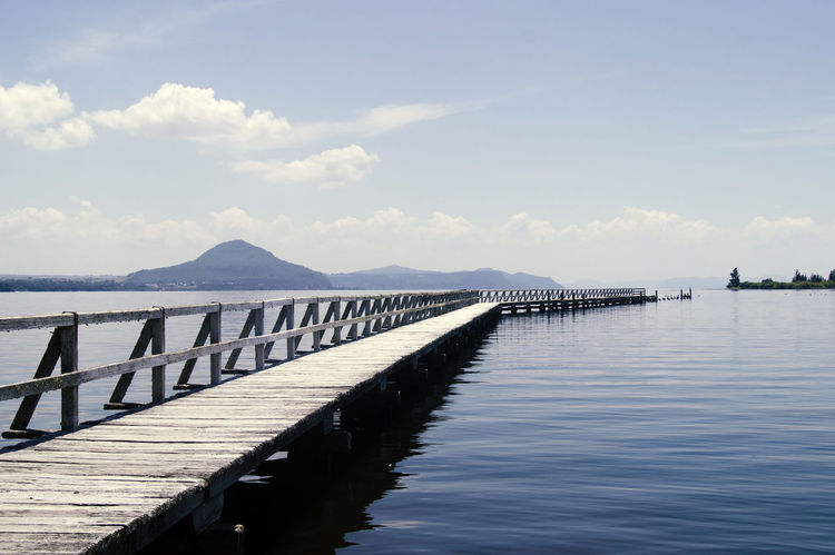 Cloud Gangplank Horizon Over Water Jetty Lake Landing Stage Landscape Long Landing Stage Mountain Nature No People Outdoors Sea Sky Water