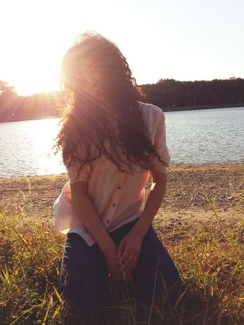 Only Women One Person Nature Summer Sunlight Young Women Long Hair Relaxation Sunset Day