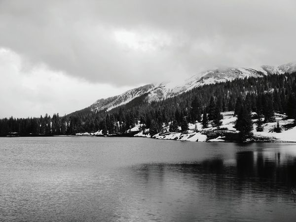 Beautiful Nature Lake Mountains Snow Cold Winter Colorado Lake Andrew Silverton, Colorado Black And White B&w First Eyeem Photo Gray Clouds Refelections