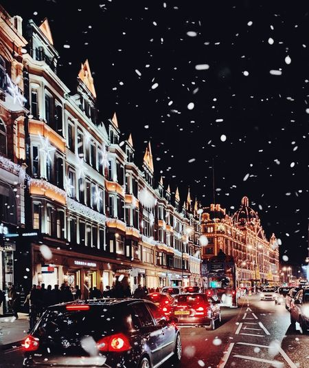 Magic in the air Shopping Center Driving Harrods Knightsbridge Christmas Lights Dreamy Romantic Snowy Snow Snowfall Mode Of Transportation Architecture Transportation Building Exterior Built Structure City Motor Vehicle Car Land Vehicle Illuminated Street Night Road Building City Street Outdoors Motion No People Sky