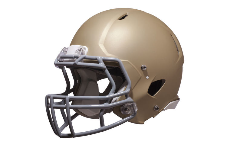 Modern football helmet in gold isolated on a white background Helmet Football Modern Gold Isolated Facemask Three Quarter View Protection Headgear Equipment Sports American Football Gray Color Image Photography No People White Background Gear Professional Style