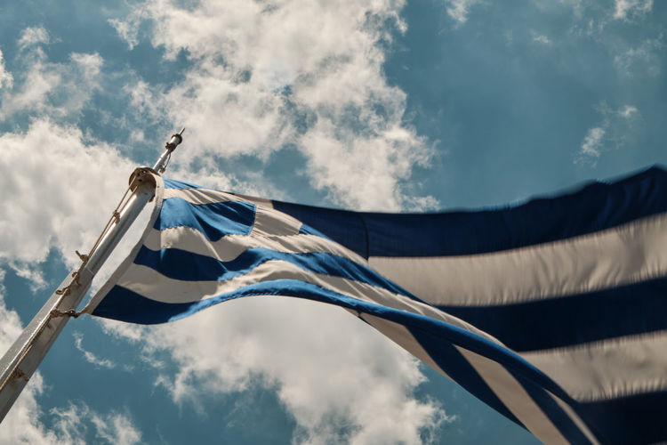 Stripes Cloud Waving European  Light Wind Tourism Fabric Greece Blue Summer Sign Horizontal World National Greek Nobody Mediterranean  Europe Patriotism Texture Day Sky Banner Travel Background Clear Country Economic Outdoor Symbol Flag Public Debt Hellenic Color Sun Shape Culture White Textured  Sunny Object Finance Crisis Union One