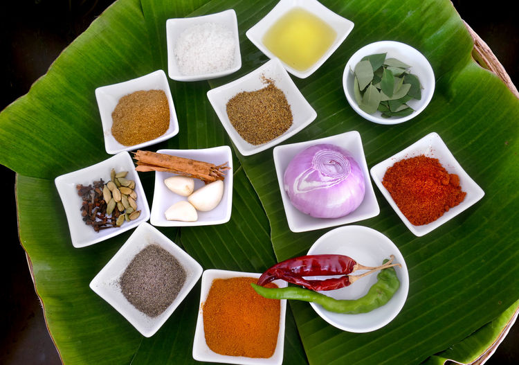 High angle view of various vegetables on table