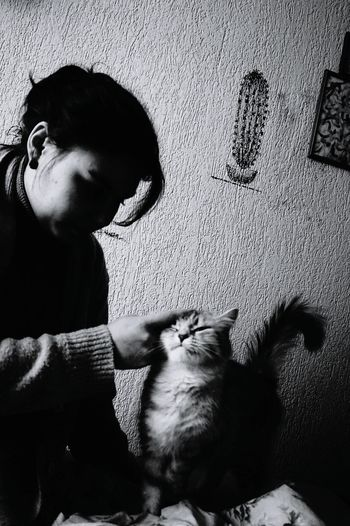 Pleasure My Love❤ Black And White Woman The People Animals In The Wild My Cat♥ My Sister ❤ My Animal Pet Girl Animal Cat♡ Welcome To Black