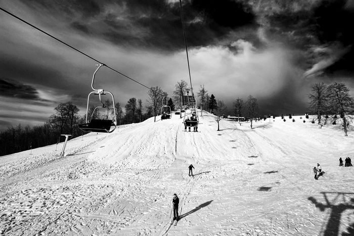 Skiing Love Apres Ski Black And White First Eyeem Photo Blackandwhite Monochrome People Watching Clouds Landscape