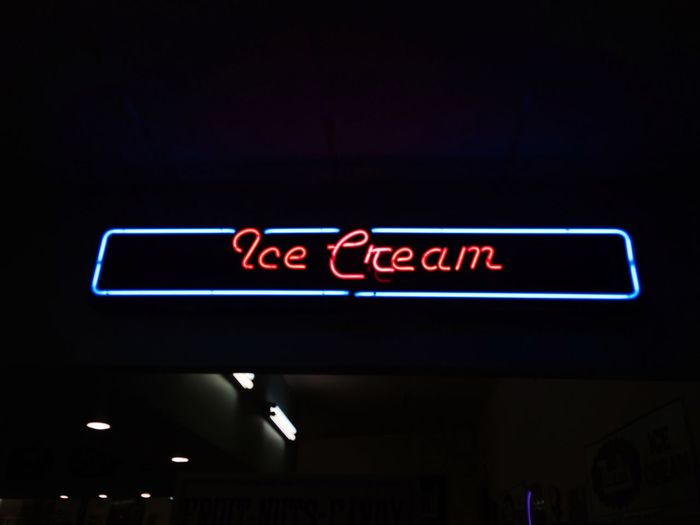 Ice Cream Ice Low Angle View Neon Neonlights No People Indoors  Text 50s Diner Illuminated Night