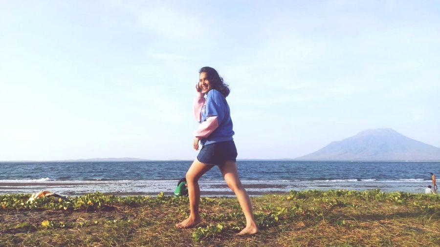 Water Young Women Full Length Sea Smiling Standing Beach Summer Women Long Hair