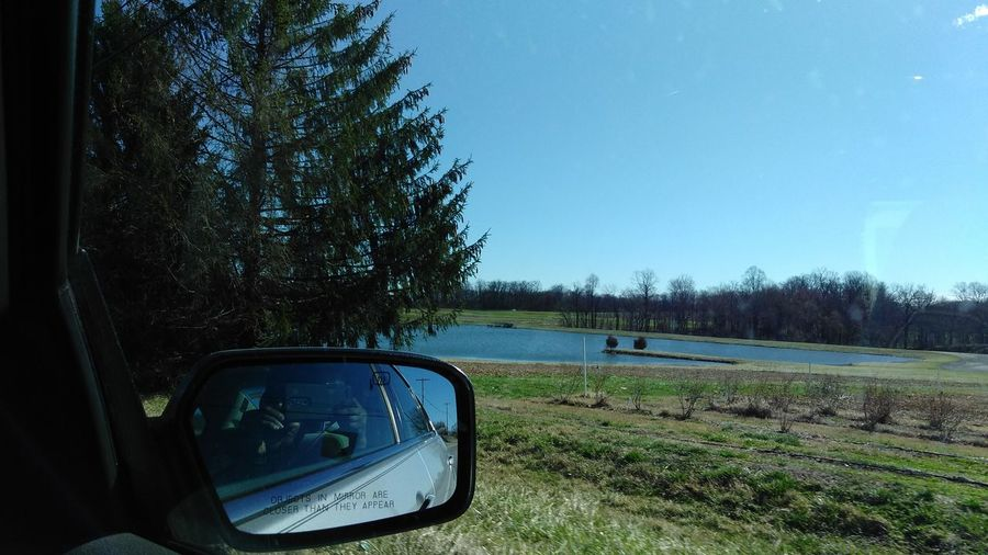 Countryside, Country, Pond Trees, Grass, Nature, Car, Side Mirror