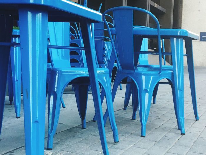 Blue days Chair Blue Seat Architecture Day No People Empty Absence Table Built Structure Outdoors Nature Cafe Building Exterior Footpath Sidewalk