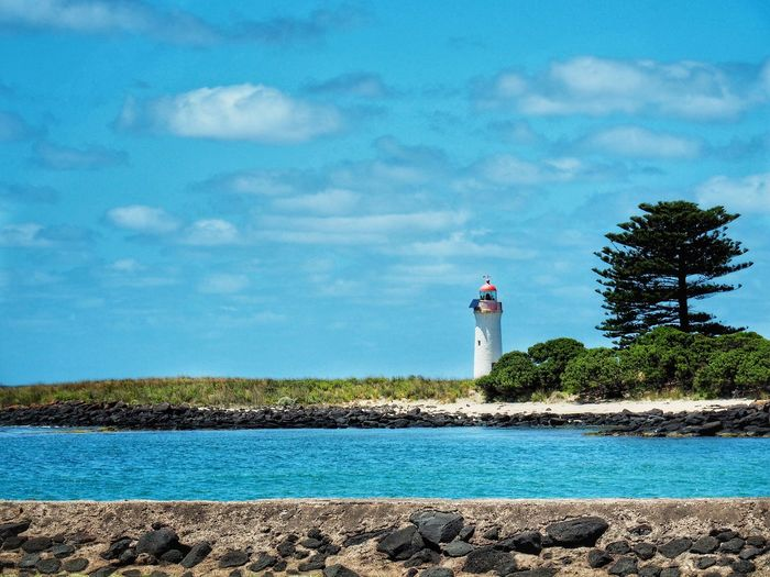 Port Fairy lighthouse Holiday Destination Travel Shipwreck Coast Australia Port Fairy Victoria Australia Port Fairy Lighthouse Port Fairy Lighthouse Water Sky Cloud - Sky Standing Day Outdoors Tree Nature Tranquil Scene Sea Vacations Scenics Lighthouse