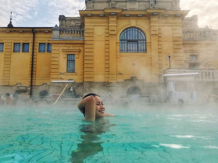 Enjoying the cold ✨ Water Swimming Pool Real People Building Exterior Architecture One Person Built Structure Day Leisure Activity Wet Outdoors Refreshment Young Adult Hot Spring Swimming EyeEmNewHere