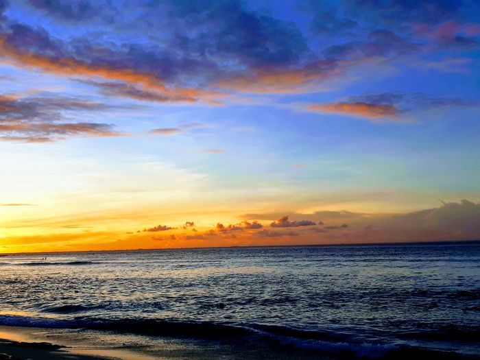 Sunset beach Indonesia Rainy Season INDONESIA Bali Sunsetbeach Beautifulcolors February Lowseason Magic Happy Amazing View Scenics Tranquil Scene Beauty In Nature Cloud - Sky Horizon Over Water No People Outdoors Travel Destinations Pastel Colored Landscape Day