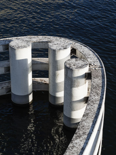 Concrete Curve Direction Water No People Day Nature Sea Sunlight Metal High Angle View Outdoors Transportation Wood - Material Pier Architecture Post Bollard Cylinder Nautical Vessel Steel Silver Colored Teamwork Geometric Shape Geometry Light Shadow