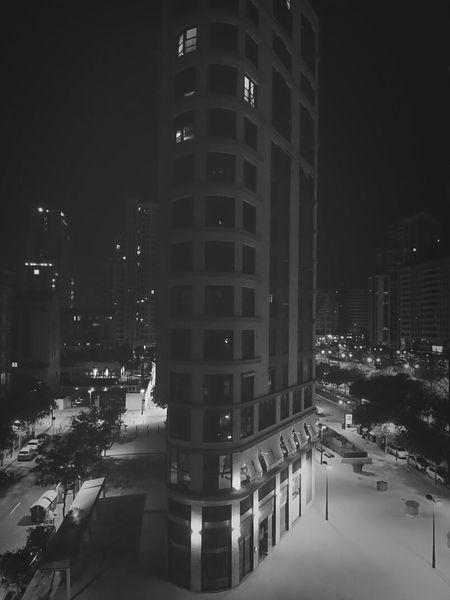 Valencia City By Night Lights Effects Architecture B & W