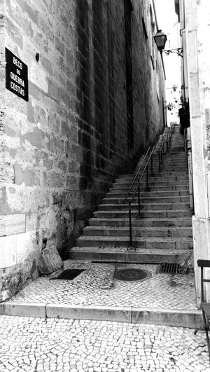 Hidden stairway The Way Forward Steps Steps And Staircases No People Day Brick Wall Staircase Black & White City Lisbon - Portugal Lissabon, History Travel Destinations
