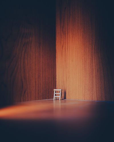 Surface level of empty chair on table
