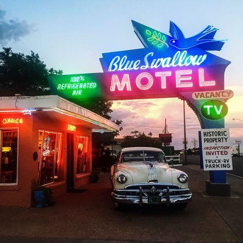 Tucumcari Roadside America Neon Motel Sunset