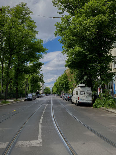 Cars on road by trees against sky
