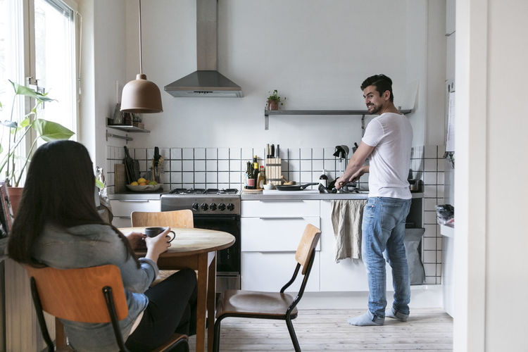 People standing at home