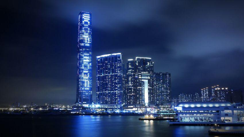 West Kowloon. Hong Kong Discoverhongkong DMC_CM1 Leica Nightphotography Mobile Photography Hkigers Open Edit Sky Long Exposure