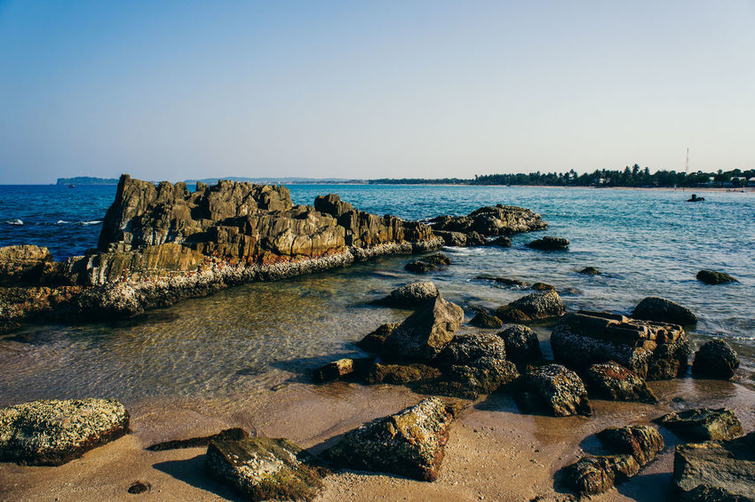 Beach Clear Sky Coastline Day Fossil Horizon Over Water Landscape Nature No People Outdoors Rock - Object Rocky Coastline Sea Sky Water