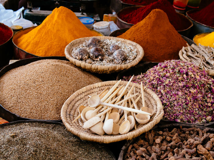 Close-Up Of Spices At Market Stall