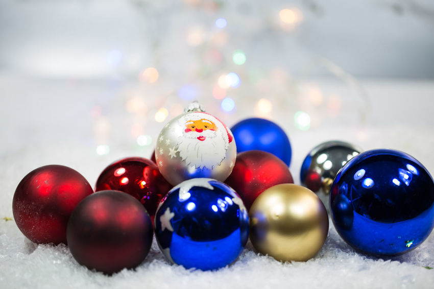 Ball Blue Celebration Christmas Christmas Decoration Christmas Ornament Close-up Holiday Indoors  Large Group Of Objects Multi Colored No People Selective Focus Shape Shiny Snow Sphere Still Life Table